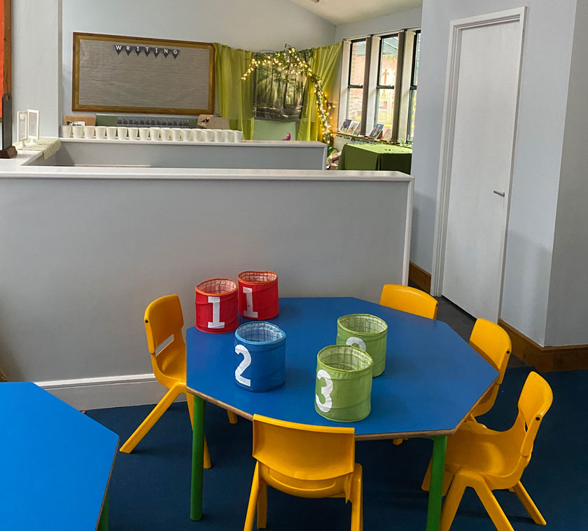 A new table and chairs within the Early Years learning department