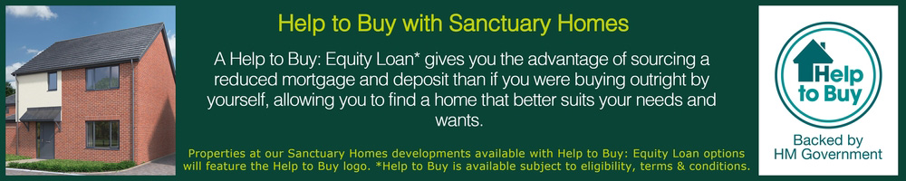 Information about the Help to Buy scheme with the Help to buy logo and a computer generated image of a house on either side