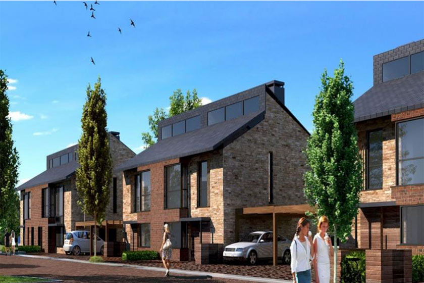 CGI rendering of exterior of new build houses