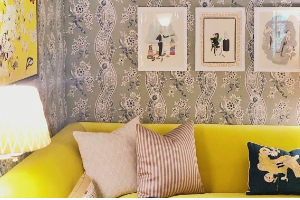 Internal of living room with yellow sofa