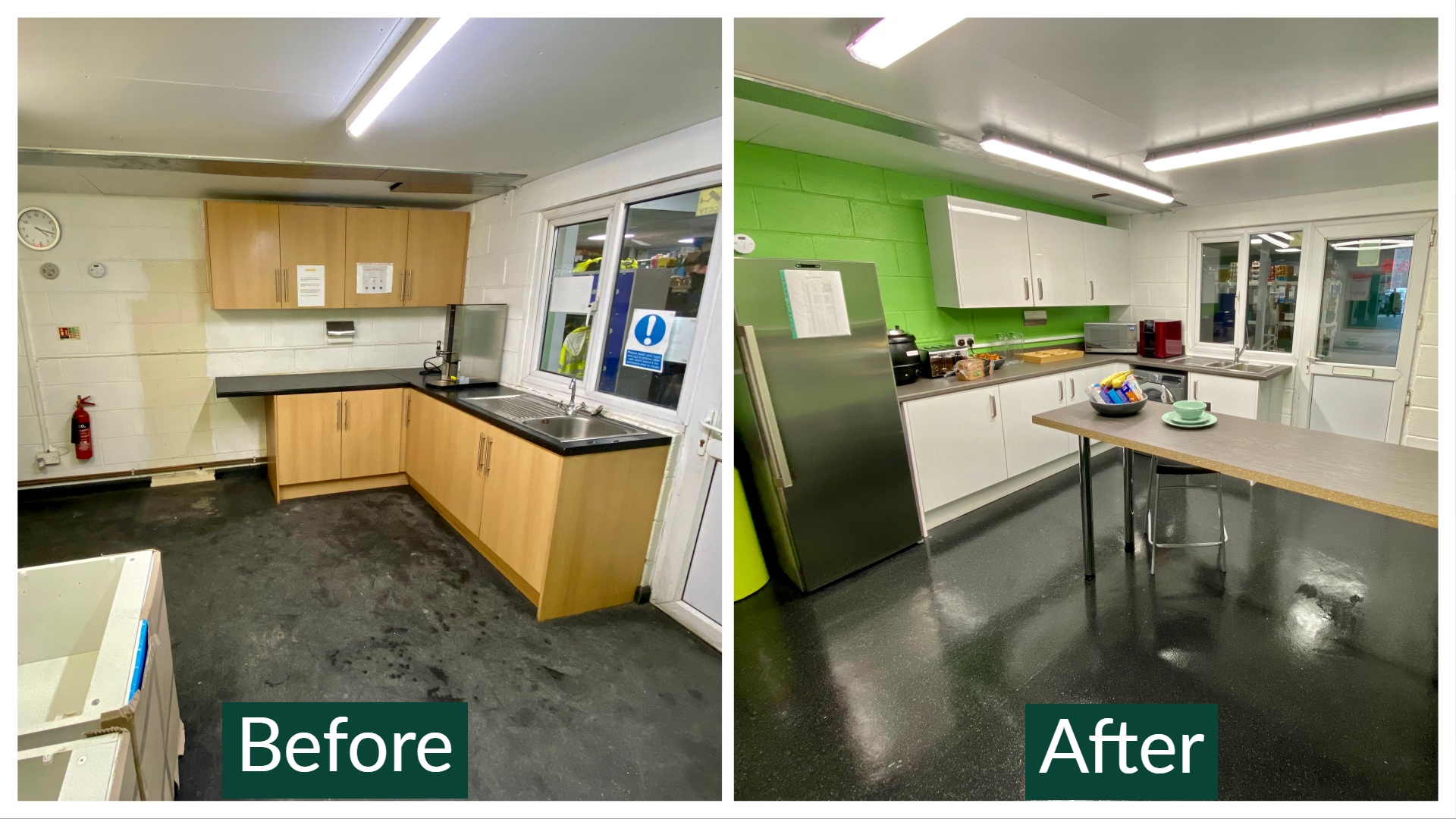 A before and after refurbishment of a kitchen