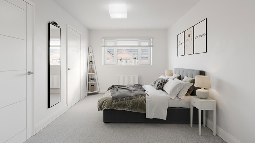 Example bedroom CGI of Penny Fields, Frating