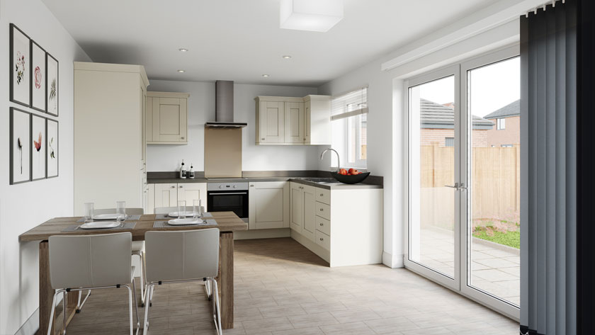 Example kitchen CGI of Penny Fields, Frating