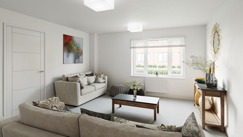 Example Living room CGI of Penny Fields, Frating
