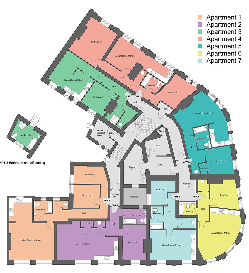 First-floor floor plan of our Station Square development in Harrogate.