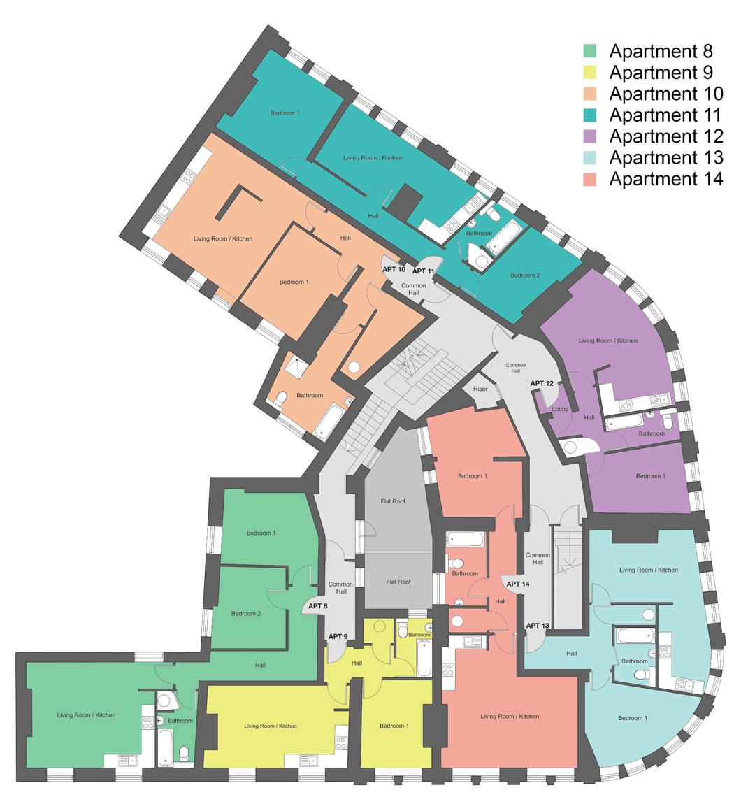 Second-floor floor plan of our Station Square development in Harrogate.