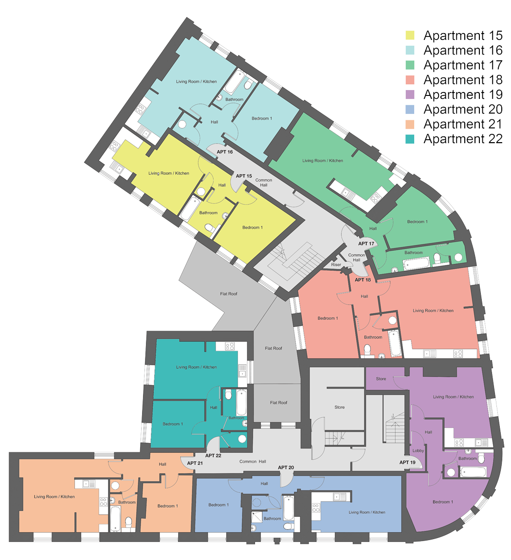 Third-floor floor plan of our Station Square development in Harrogate.