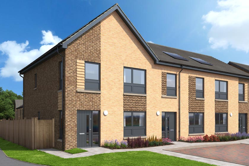 The exterior of The Bonnie, a three bed end terrace house at our Gleniffer Reach development in Paisley.