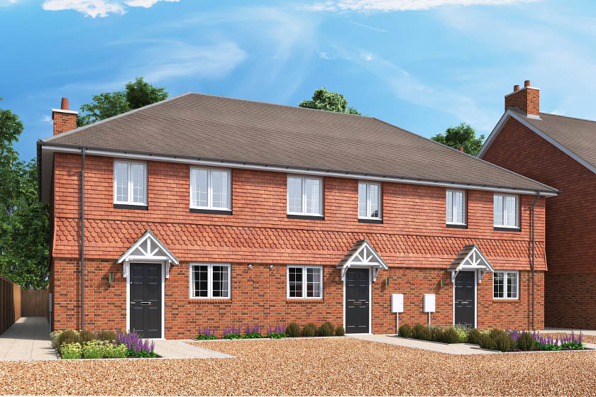 CGI showing the exterior of The Evergreen, a 2 bedroom house at our Gatton Grove development in Merstham, Surrey