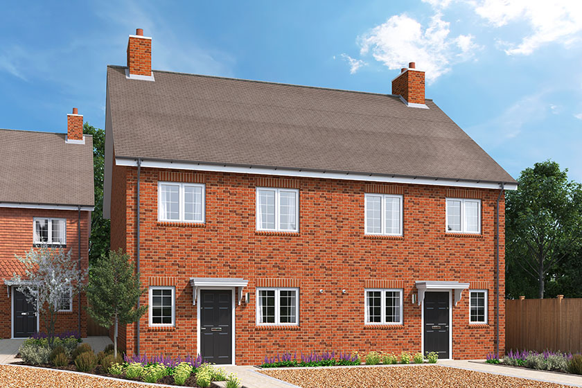 CGI showing the exterior of The Heather, a 3 bedroom house at our Gatton Grove development in Merstham, Surrey