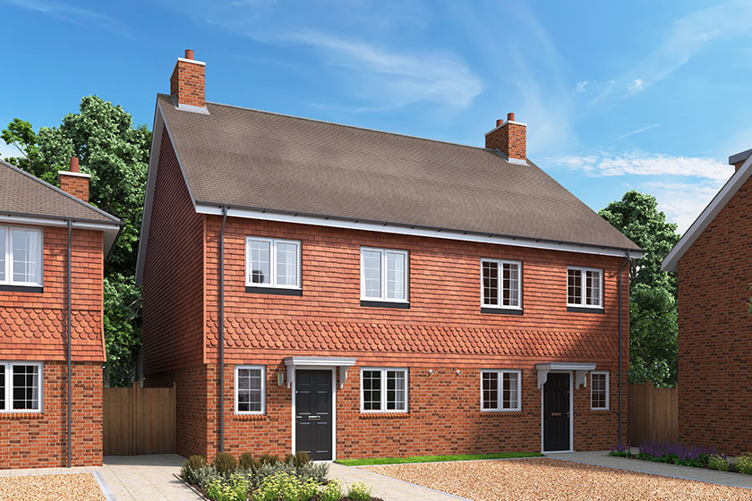 CGI showing the exterior of The Juniper, a 3 bedroom house at our Gatton Grove development in Merstham, Surrey