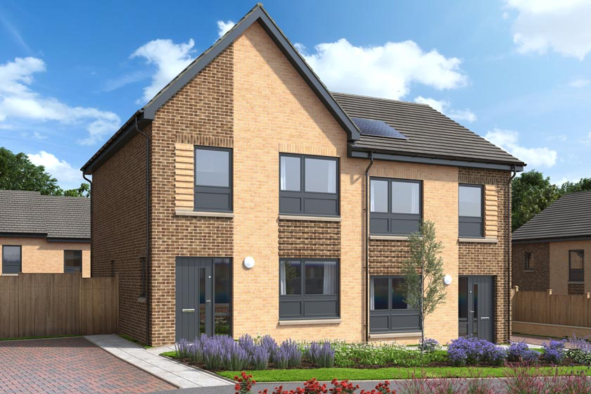 The exterior of The Macdonald, a two bed semi-detached house at our Gleniffer Reach development in Paisley.
