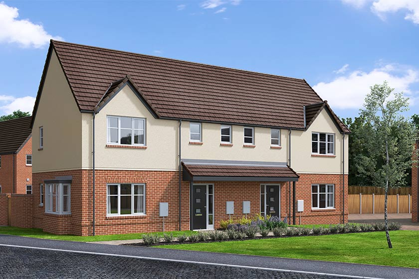The Proposed Exterior (CGI) Of The Baldwin, A 3 Bed Semi-Detached House