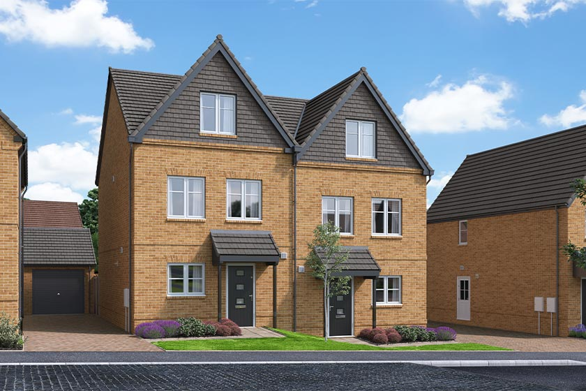 The Proposed Exterior (CGI) Of The Braeburn, A 3 Bed Semi-Detached House