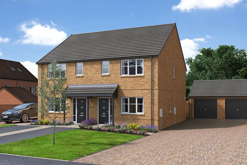 The Proposed Exterior (CGI) Of The Breedon, A 3 Bed Semi-Detached House