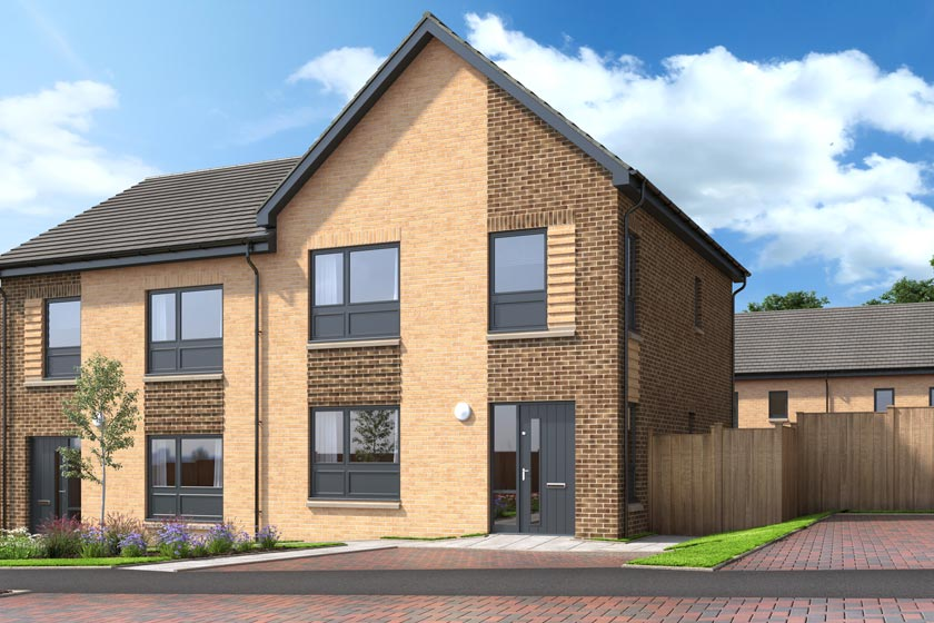 The exterior of The Tannahill, a three bed semi-detached house at our Gleniffer Reach development in Paisley.
