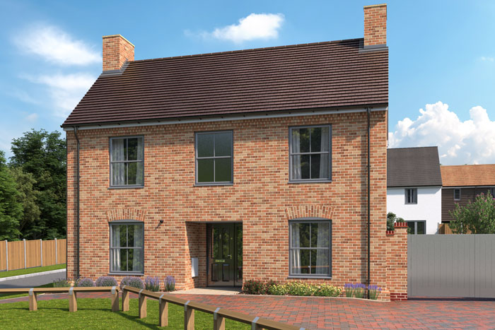 CGI of The Oak property type at Three Acres.