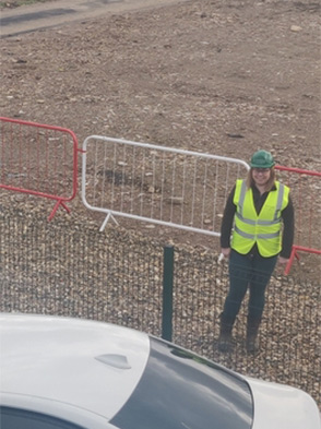 Kirsty Noble standing on a construction site