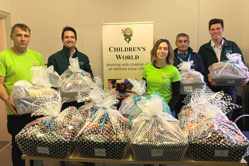 A picture of Christmas hampers donated to Glastonbury families