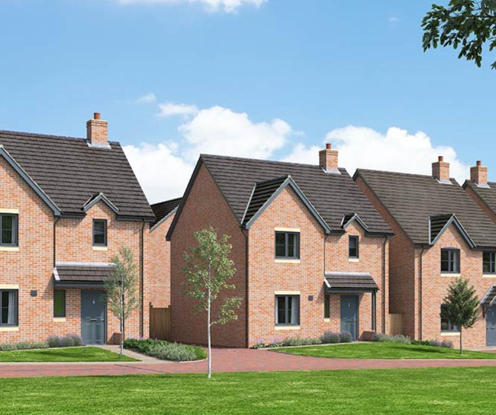 Compter generated image of the proposed street view at Castle Reach new build housing develpment.