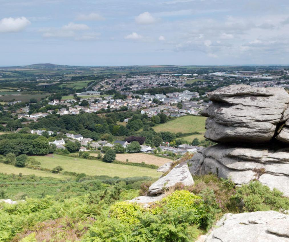Landscape shot of Camborne and the surrounding area