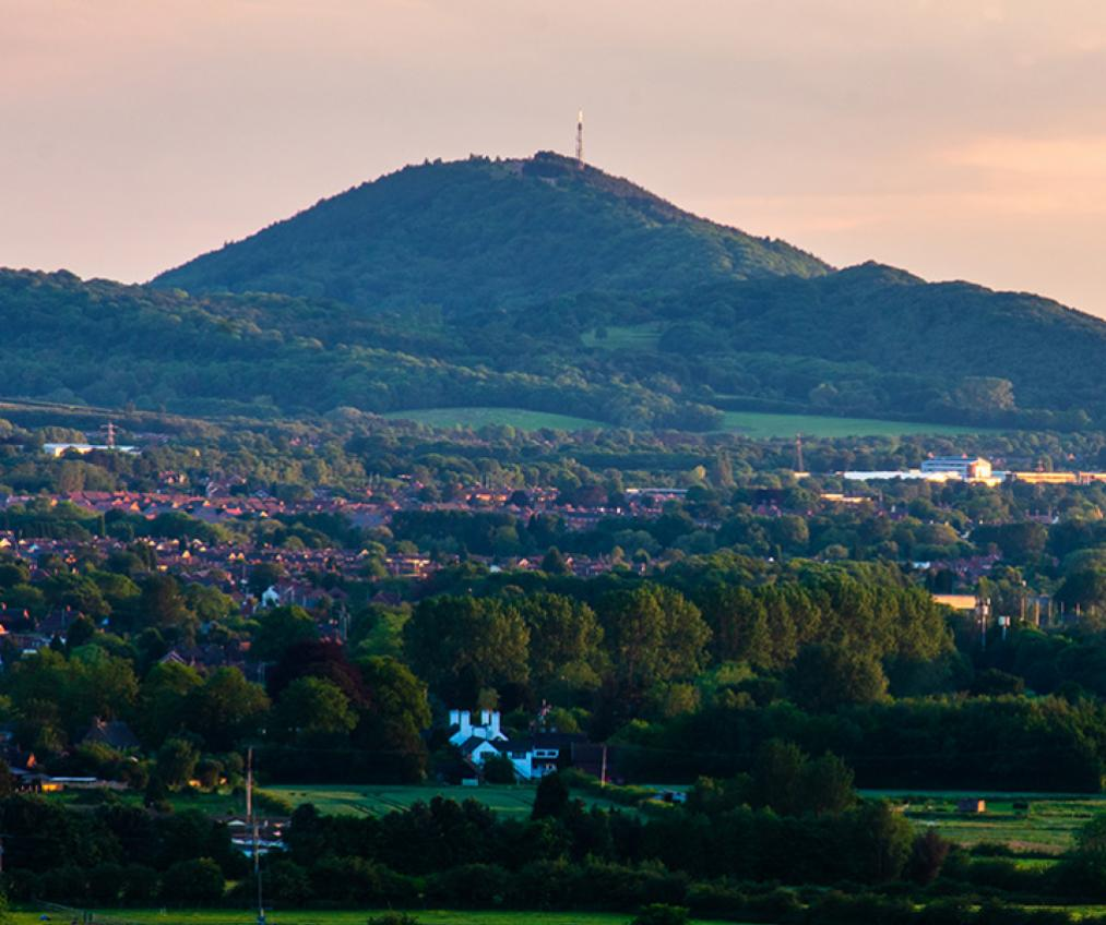 View of The Wrekin and part of Telford town, near the Telford Millennium Community development