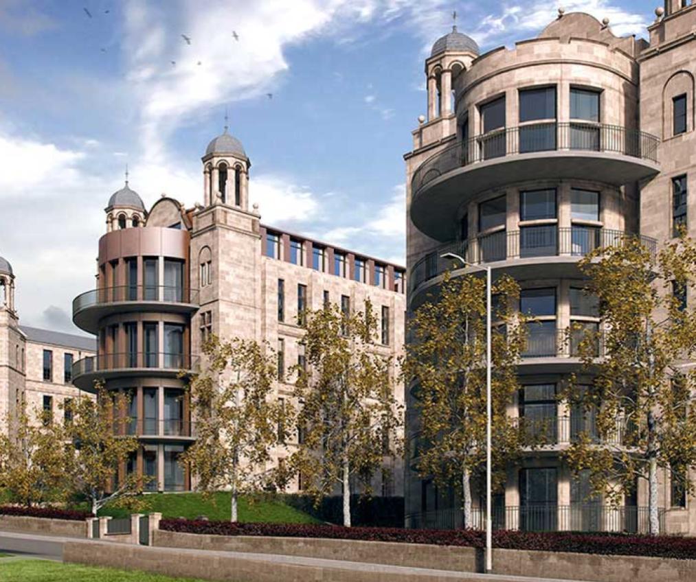 A CGI showing The Victoria development in Glasgow.