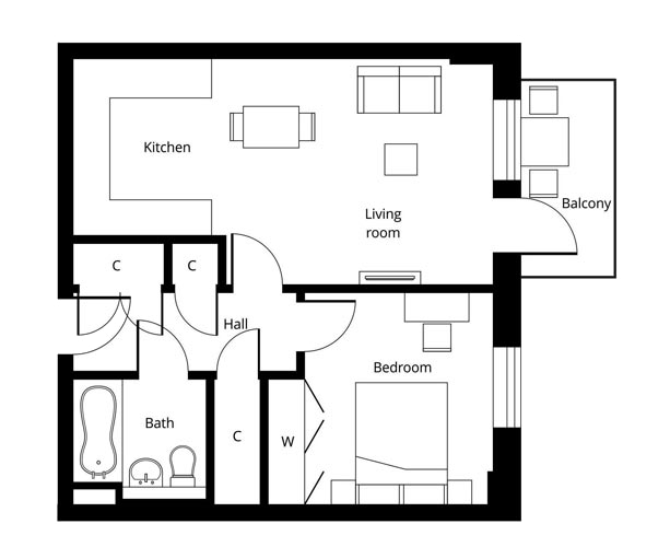 Hornsey 1 bedroom apartment floor plan