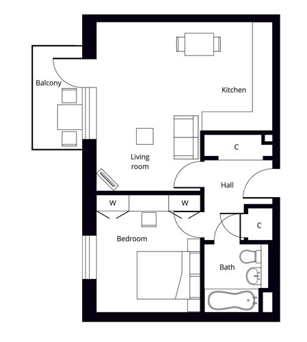Hornsey 1 bedroom larger apartment floor plan