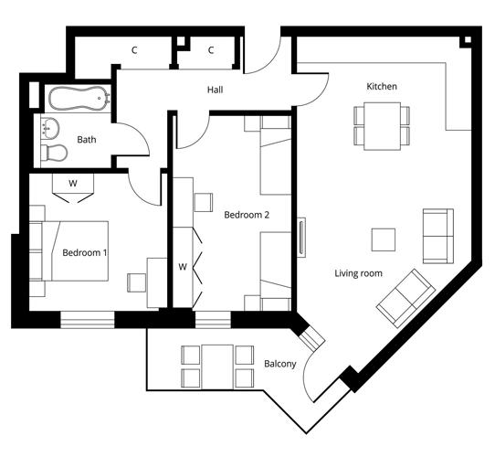 2 bedroom apartment Floor Plan N-2-001