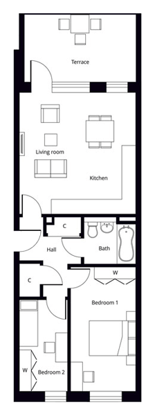 Hornsey 2 bedroom apartment floor plan
