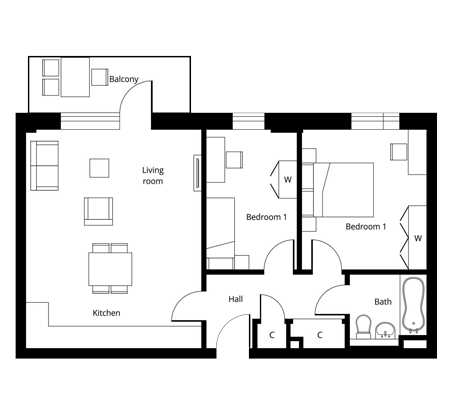 2 bed apartment floor plan at The Quadrangle - Fourth Floor