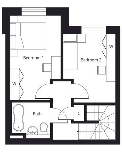 2 bedroom duplex apartment - first floor floor plan