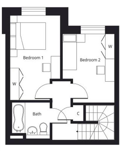 2 bedroom duplex apartment first floor