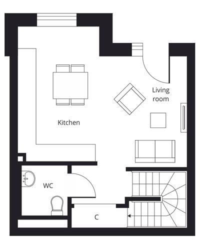 2 bedroom duplex apartment - ground floor floor plan