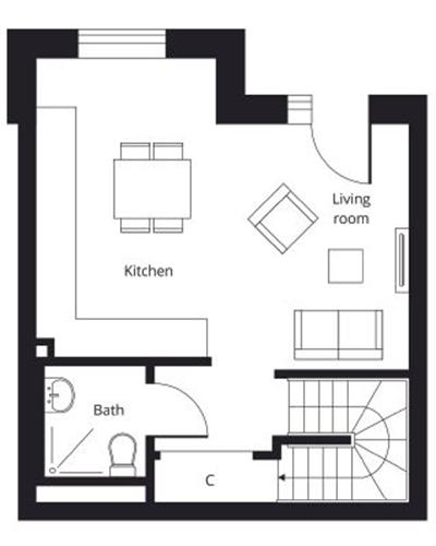 2 bedroom duplex apartment ground floor