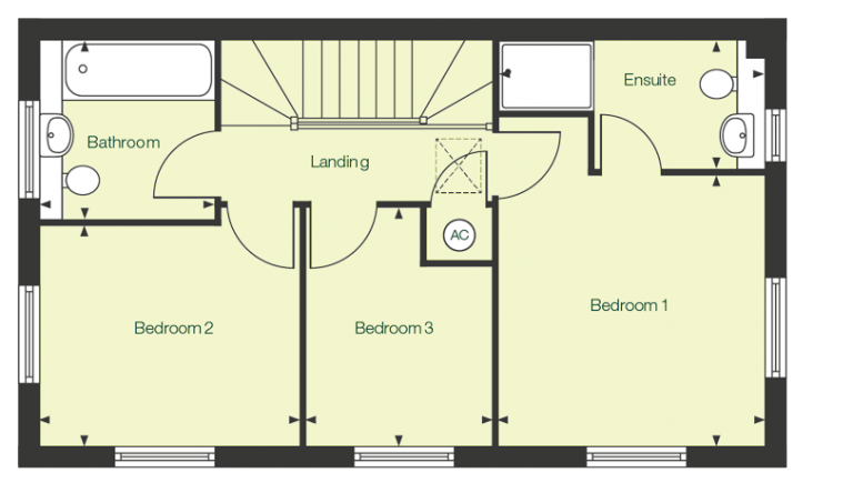 First floor floor plan of The Calder at Chase Park