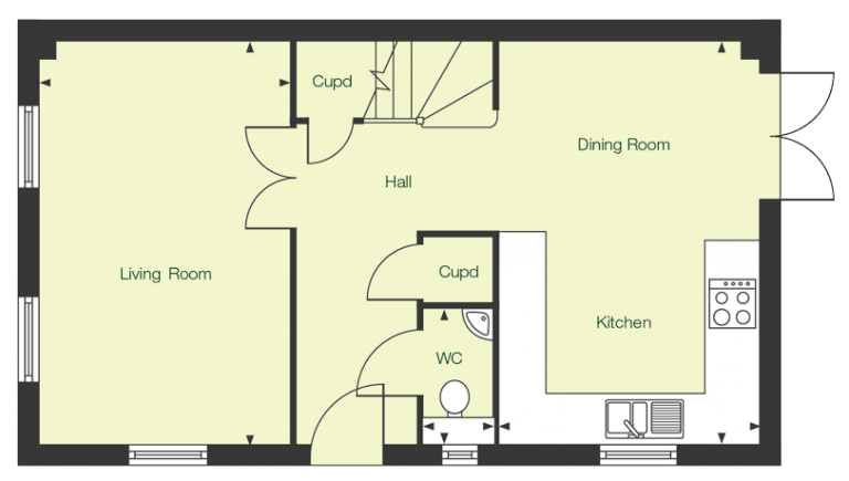 Ground floor floor plan of The Calder at Chase Park