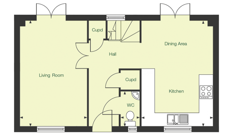 Ground floor floor plan of The Carey at Chase Park