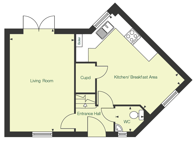 Ground floor floor plan of The Tern at Chase Park