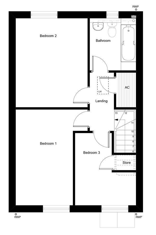 The first floor layout of The Cullis property type.