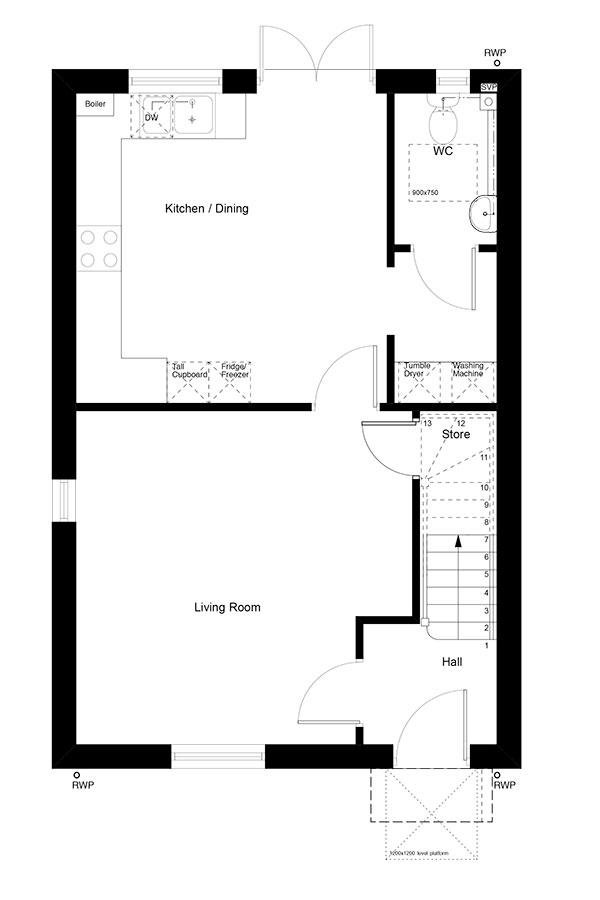 Ground floor plan showing the layout of The Cullis property type.