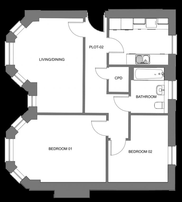Gatton Grove apartments plot 2 first floor floorplan