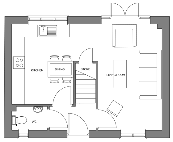 Type A floor plan - ground floor