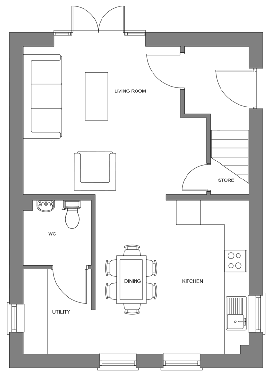Type B+ floor plan - ground floor