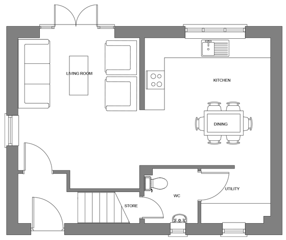 Type C floor plan - ground floor