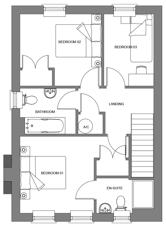 Type D+ floor plan - first floor
