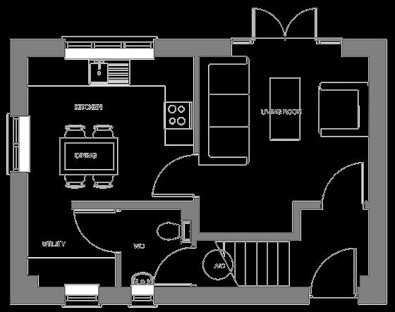 Type E floor plan - ground floor