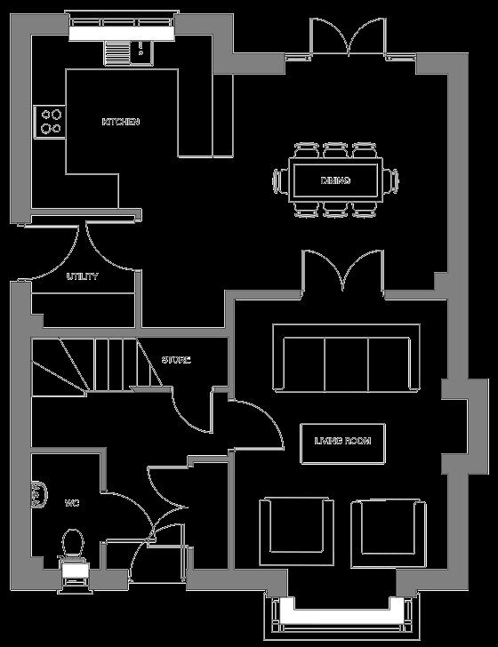 Type H+ floor plan - ground floor