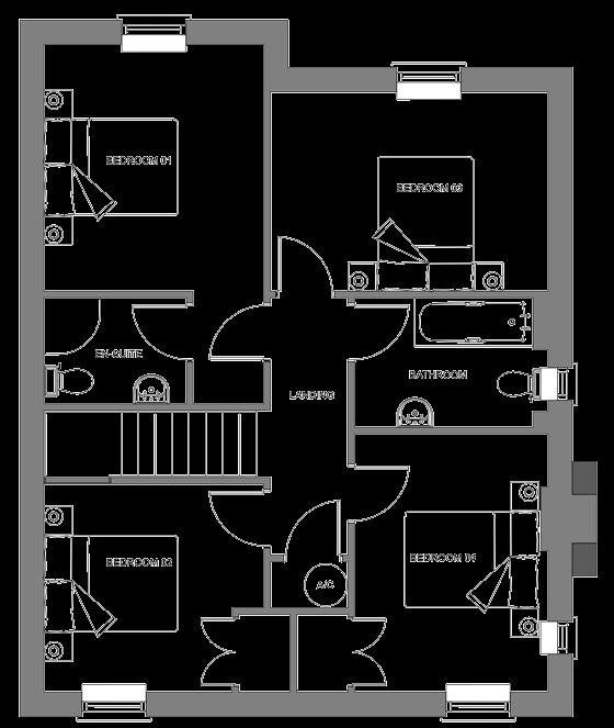 Type H floor plan - first floor